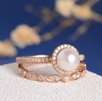 Akoya Pearl Engagement Ring Set Rose Gold Art Deco Wedding Band