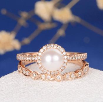 Akoya Pearl Engagement Ring Set Rose Gold Art Deco Wedding Band