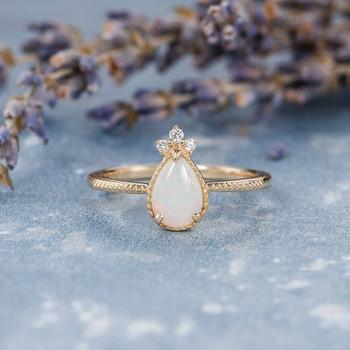 Natural Australian Pear Shaped Opal Engagement Ring