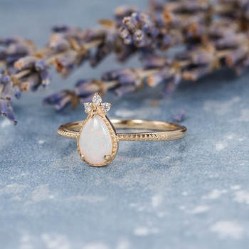 Natural Australian Pear Shaped Opal Engagement Ring
