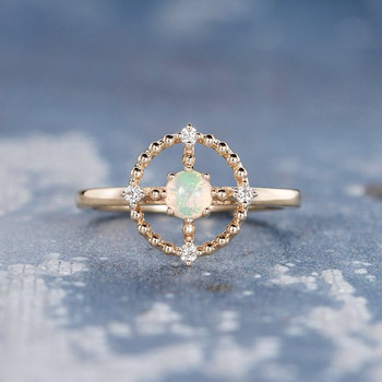 Natural Cabochon Opal Universe Sun Beaded Halo Engagement Ring