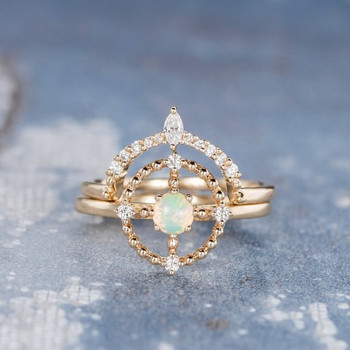 Natural Cabochon Opal Universe Sun Beaded Halo Engagement Ring Set
