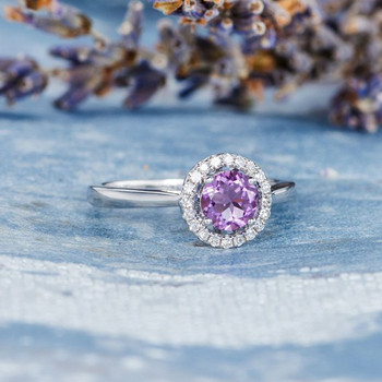 Diamond Halo Solitaire Purple  Amethyst Engagement Ring