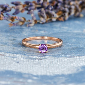 Amethyst Simple  Band Solitaire Dainty Wedding  Ring