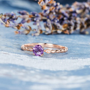 Amethyst  Solitaire Delicate  Diamond Dainty Engagement Ring
