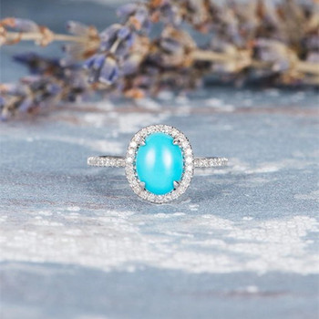 Oval Cut Turquoise White Gold Ring Diamond Halo Antique Claw Prongs