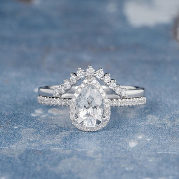 White Gold 6*8mm Pear Shaped White Topaz Engagement Ring Set