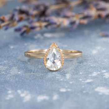 Pear Shaped Solitaire White Topaz Stacking Beaded Antique Retro Ring