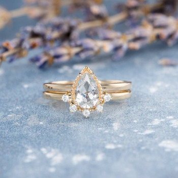 Pear Shaped White Topaz  Unique Wedding Ring Set