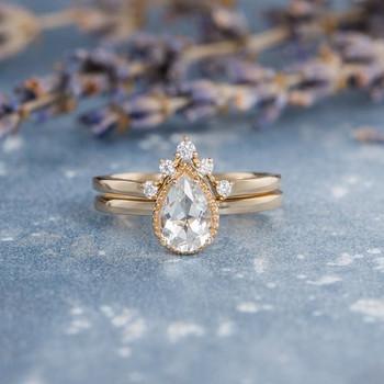 Pear Shaped White Topaz  Unique Bridal Ring Set