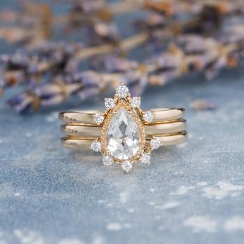 Pear Shaped White Topaz  Unique Bridal Ring Set 3pcs