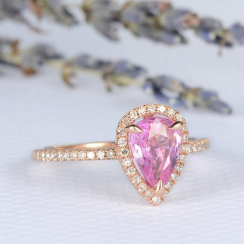 6*8mm Pear Natural Pink Sapphire Dainty Engagement Ring