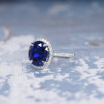 7*9mm Oval Lab Sapphire Diamond  Halo Claw Prongs Engagement Ring