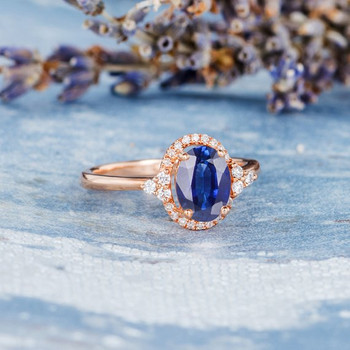 6*8mm Oval Lab Sapphire Diamond  Halo Cluster Engagement Ring