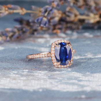 7*9mm Oval  Lab Sapphire Diamond Retro Engagement Ring