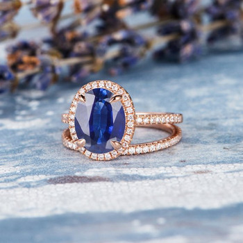 Rose Gold 7*9mm Oval Lab Sapphire Diamond  Halo Claw Prongs Bridal Set