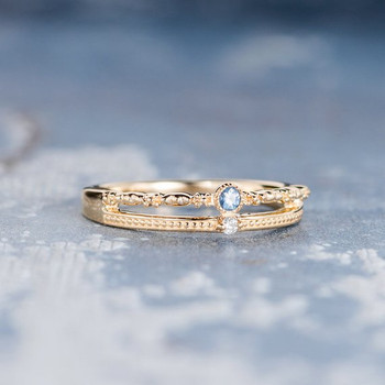 Antique Wedding Band ellow Gold Double Band Sapphire Ring