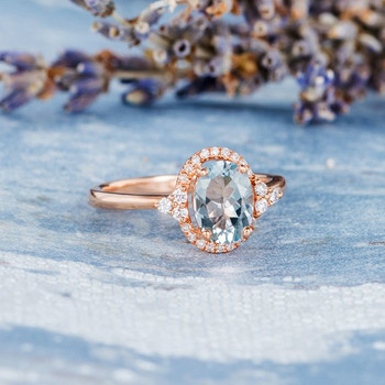 6*8mm Oval  Aquamarine Diamond Halo Unique Antique Engagement Ring