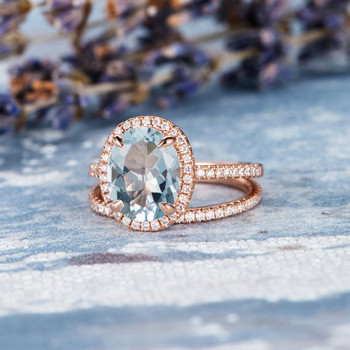 8*10mm Oval Aquamarine Eternity Diamond Pave Engagement Ring Set