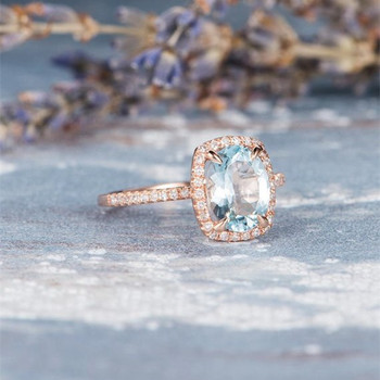 7*9mm Oval Aquamarine Eternity Diamond Pave Engagement Ring