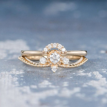 Unique Moissanite Curved Wedding Band Engagement Ring Set