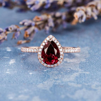 6*8mm Pear Shaped Lab Ruby Engagement Ring
