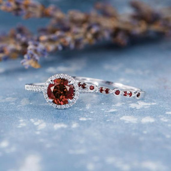 Garnet Bridal Set 2pcs Garnet Engagement Ring
