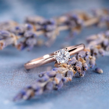 Mini  4mm Solitaire Dainty Moissanite  Rose Gold Engagement Ring