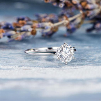Solitaire White Gold 6.5mm Round Cut  Moissanite Engagement Ring
