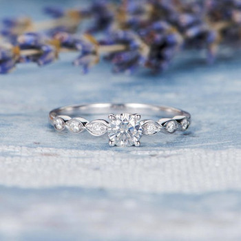 5mm Round Cut Moissanite Diamond Solitaire Wedding Ring
