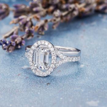 5*7mm Emerald Cut Moissanite Diamond Split Shank Engagement Ring