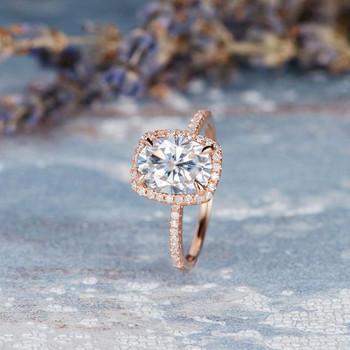 7*9mm Oval Cut Moissanite Cushion Cut Halo Dimond Antique Bridal Ring
