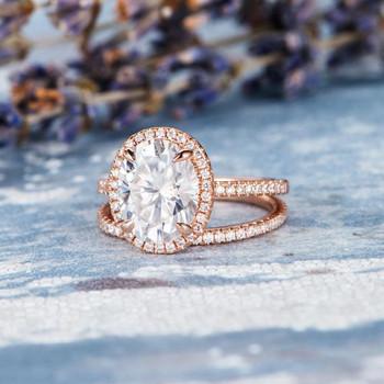 8*10mm Oval Cut Moissanite  Diamond Halo Stacking Wedding Band  Engagement Ring Set
