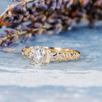 5*7mm Oval Cut Moissanite Diamond Flower Floral Vine Filigree Ring