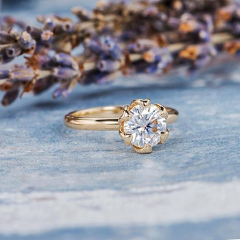 6.5mm Solitaire Dainty Moissanite  Rose Gold Engagement Ring