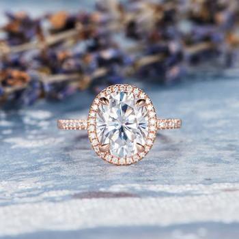 8*10mm Oval Cut Moissanite Diamond Halo Half Eternity Band Engagement Ring