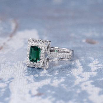 5*7 Emerald Cut Lab Emerald Retro Unique Split Shank Promise Ring