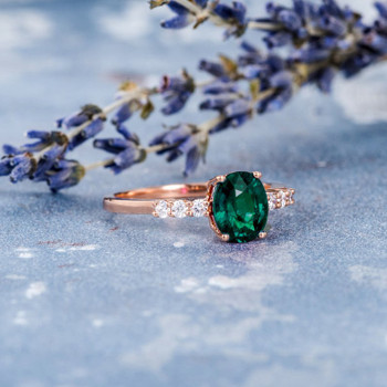 6*8mm Oval Cut Lab Emerald Rose Gold Anniversary Ring