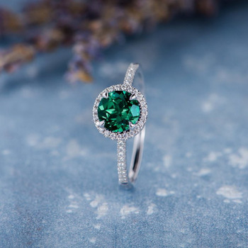 7mm Round Cut Lab Emerald White Gold Natural Diamond Classic Anniversary Ring