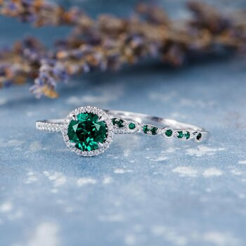 7mm Lab Emerald Bridal Set White Gold Engagement Ring