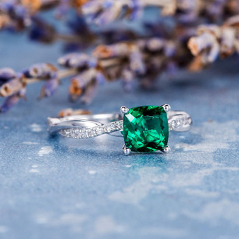 6mm Cushion Cut Lab Emerald White Gold Solitaire Wedding Ring