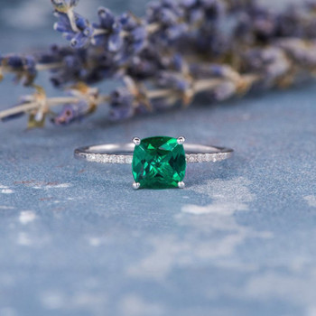 6mm Cushion Cut Lab Emerald White Gold Solitaire  Anniversary Ring