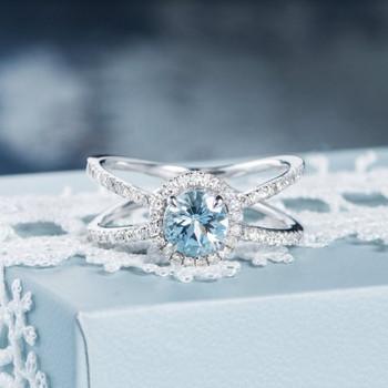 6mm Round Aquamarine Half Eternity Cross Diamond Halo Engagement Ring