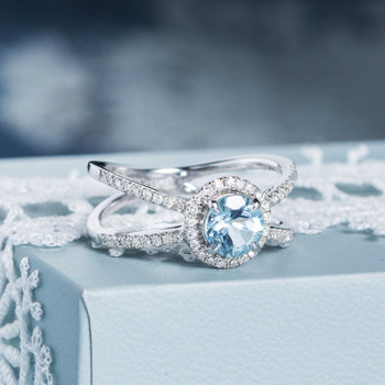 6mm Round Aquamarine Half Eternity Cross Diamond Halo Engagement Ring