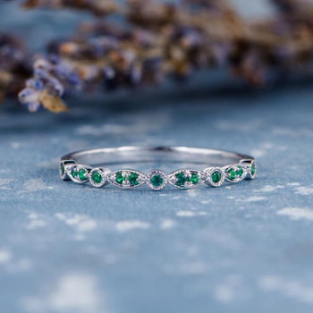 Emerald Band Retro Milgrain Antique Half Eternity Wedding Band