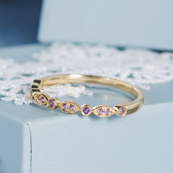 Amethyst Band Art Deco Yellow Gold Half Eternity Wedding Band