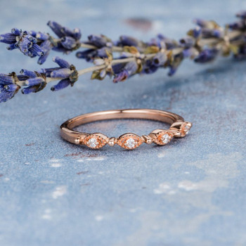 Half Eternity Ring Antique Stacking Milgrain Dainty Anniversary Gift