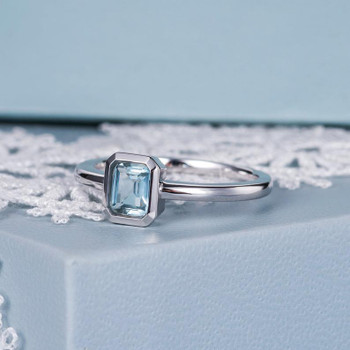 Bezel Set Emerald Cut White Gold Aquamarine Engagement Ring