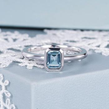 Bezel Set Emerald Cut White Gold Aquamarine Engagement Ring