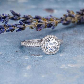 6.5mm Moissanite Engagement Ring White Gold Wedding Ring